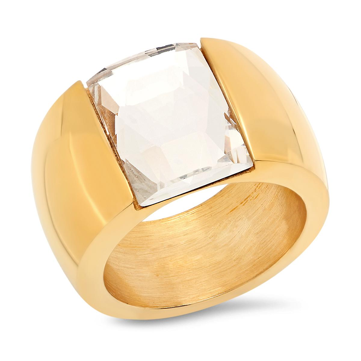 Ladies 18K Gold Plated Stainless Steel Crystal Band Ring