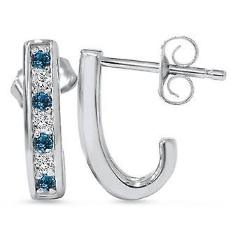 1 / 3ct bleu & blanc diamant créoles 14 K or blanc