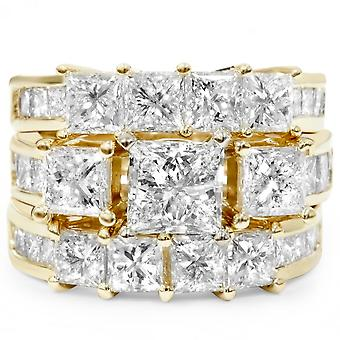 4 1 / 3ct Princess Schliff verbesserte DiamantVerlobungsring Guard Set 14K Gelbgold
