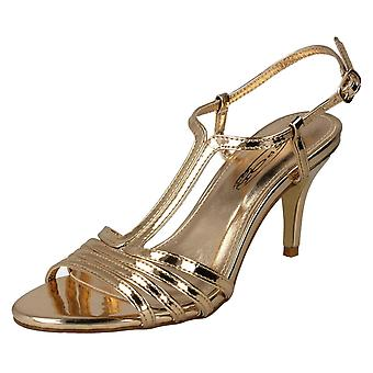 Ladies Spot On Metallic Strappy Sandals F10841 - Rose Gold Metallic Foil - UK Size 6 - EU Size 39 - US Size 8