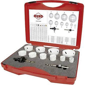 RUKO 126303 Hole saw set 12-piece 19 mm, 22 mm, 25 mm, 29 mm, 35 mm, 38 mm, 44 mm, 51 mm, 57 mm, 64 mm cobalt 1 Set