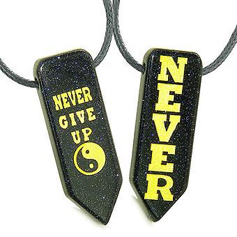 Never Give Up amuletten liefde paren of beste vrienden Yin Yang bevoegdheden Goldstone pijlpunt kettingen