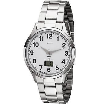 JOBO men's wristwatch radio radio clock stainless steel men's watch with date