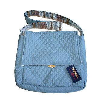 Blue Quilted & Wool Random Recycled Shoulder Bag