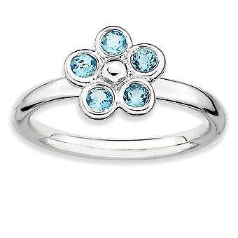 925 Sterling Silver Bezel Polished Rhodium plated Stackable Expressions Blue Topaz Flower Ring Jewelry Gifts for Women -