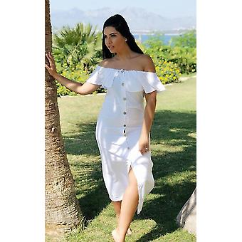 ミディのドレスを肩ボタンをオフ IKRUSH レディース デリラ