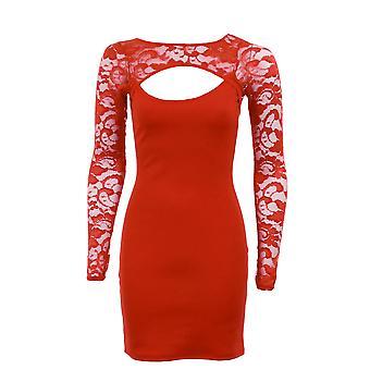 Nieuwe dames knippen deur lange mouw Lace Front terug Bodycon Women's jurk