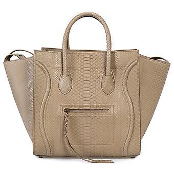 Celine Medium Luggage Phantom Bag In Taupe Python