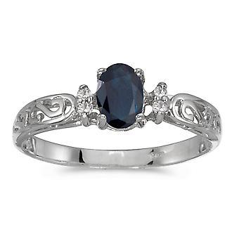 LXR 14k White Gold Owalny szafirowy i diamentowy pierścień filagree 0.39ct