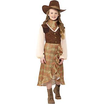 Cowgirl dress zachodniej dziewczyny dzieci kostium karnawał kowbojem na dzikim zachodzie
