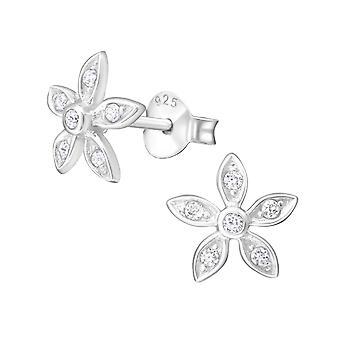 Flower - 925 Sterling Silver Cubic Zirconia Ear Studs - W8094X