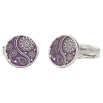 Simon Carter Paisley Guilloche Enamel Cufflinks - Purple