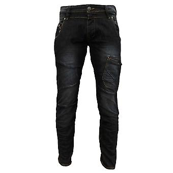 883 Police Men's Aivali Twisted Button Fly Denim Jeans Washed