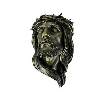 Bronze Finish Head Jesus The Messiah with Crown of Thorns Wall Hanging