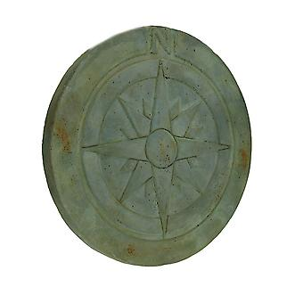 Compass Rose Symbol Green Verdigris Finish Round Cement Step Stone 10 Inch