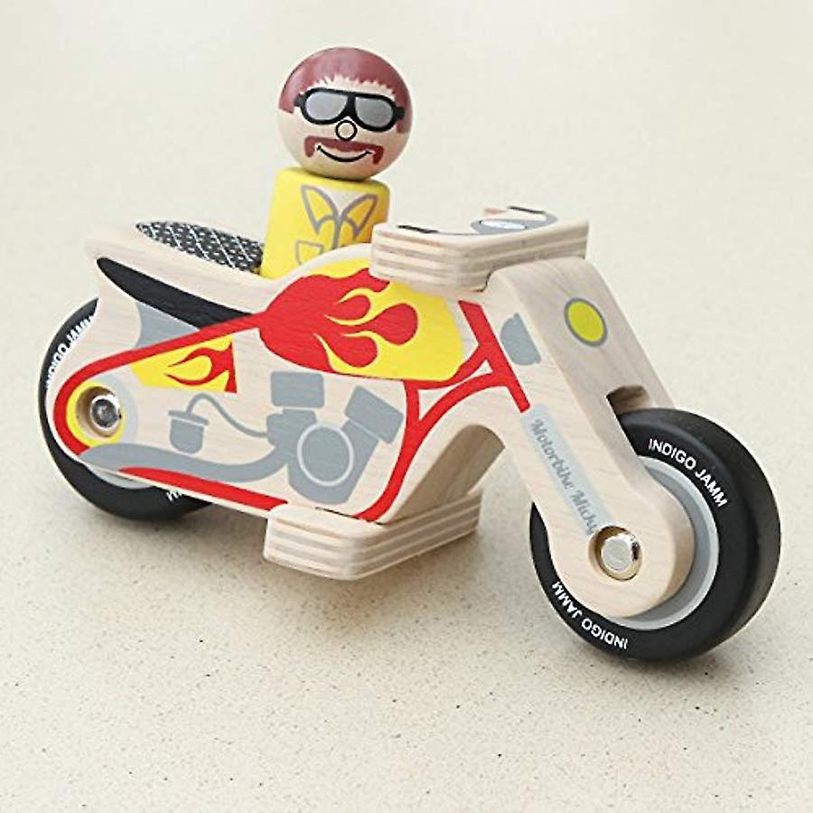 Indigo Jamm Motorbike Micky Wooden Toy - Comes Complete With Wooden Biker