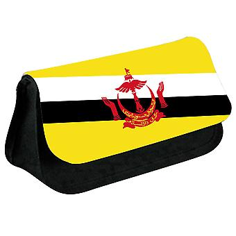 Brunei Flag Printed Design Pencil Case for Stationary/Cosmetic - 0025 (Black) by i-Tronixs