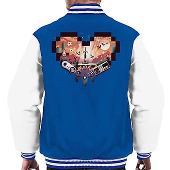 Retro Gaming Heart Men's Varsity Jacket