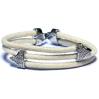 Lavriche Stingray White Leather Bracelet 925 Silver Plated and CZ High Quality