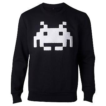 Space Invaders Sweatshirt Chenille Invader Mens Sweatshirt Black X-Large