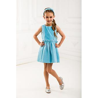 Blue jacquard girl dress