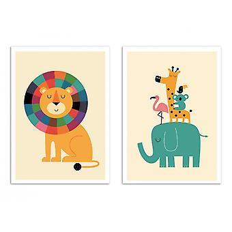 2 Art-Poster - Tiere aus dem Dschungel - Andy Westface
