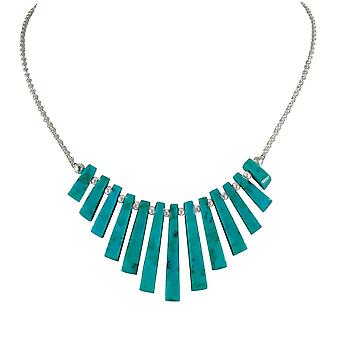 Eternal Collection Idaho Turquoise Graduated Fan Sterling Silver Necklace