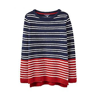 Joules Seaham Womens Chenille Jumper - Navy Creme Red