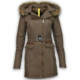 Fur coats - Winter coat Long - Oblique Zipper With Stab bags - Brown