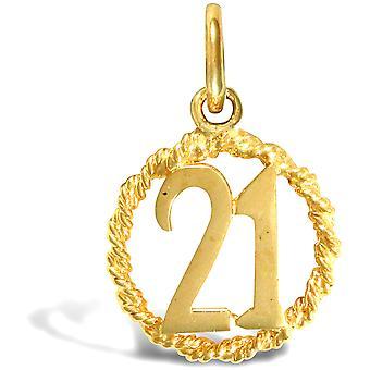 جويلكو لندن السيدات الصلبة 9ct الذهب الأصفر 21 عيد ميلاد حبل خاتم خاتم قلادة