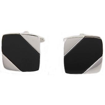David Van Hagen Diagonal Onyx Stone Cufflinks - Black/Silver