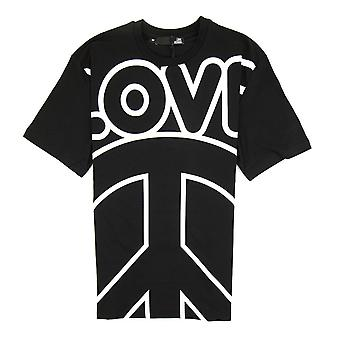 Love Moschino Love Peace Cotton T-shirt Black/White