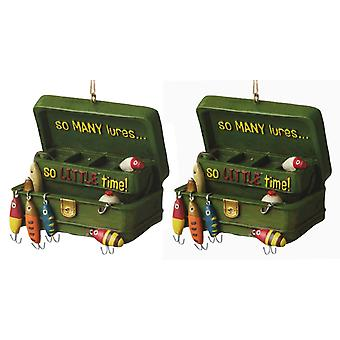 So Many Lures Tackle Box Christmas Holiday Ornaments Set of 2 Midwest CBK