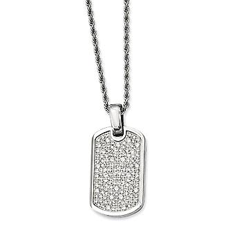 Stainless Steel Polished Fancy Lobster Closure Fancy Cubic Zirconia Dog Tag Pendant 24inch Necklace - 24 Inch
