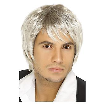 Mens Blonde & Brown Boy Band Wig Fancy Dress Accessory