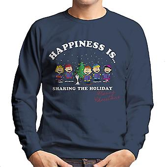 Peanuts Sharing The Holiday Christmas Men's Sweatshirt