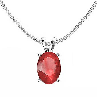 Dazzlingrock Collection 14K 9x7 mm Oval Cut Ruby Ladies Solitaire Pendant (Silver Chain Inclus), White Gold