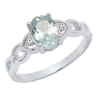 Dazzlingrock Collection Sterling Silver 8X6 MM Oval Aquamarine & Round White Diamond Ladies Engagement Ring