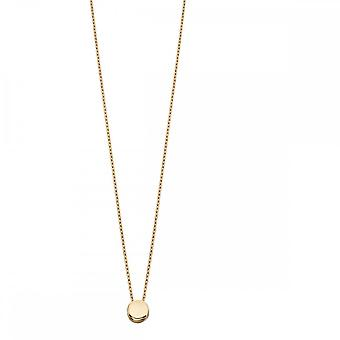 Elements Gold Yellow Gold Circle Disc Plain Necklace GN289