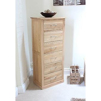 Mobel Oak Tallboy (6 Drawer) Brown - Baumhaus