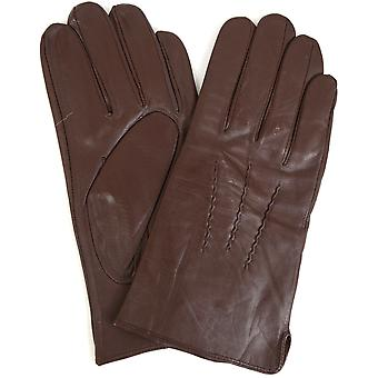 Mens 3 punkt skinnhandskar - Brown