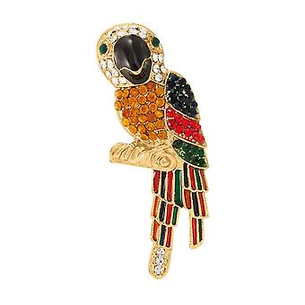 Eternal Collection Polly The Parrot emalje og østerrikske Crystal Gold tone Bird brosje