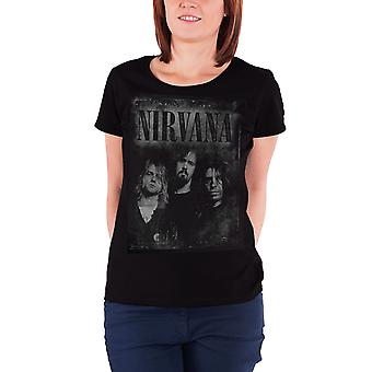 Nirvana T Shirt Faded Faces band logo new Official Womens Skinny Fit Black