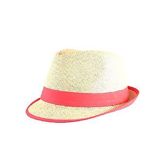 Chapeau de paille Fedora avec Neon Pink Trim