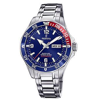 Festina F20478-2 Watch-automatisk stål Dateur sølv dial blå mænd