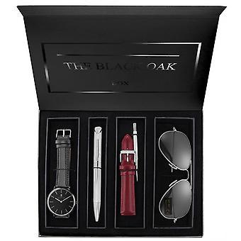 Box Black Oak BX97051SET-903 - watch + pen + Bracelet + pair of solar woman