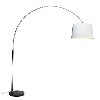 QAZQA Arc lamp steel fabric shade white 45 cm - XXL