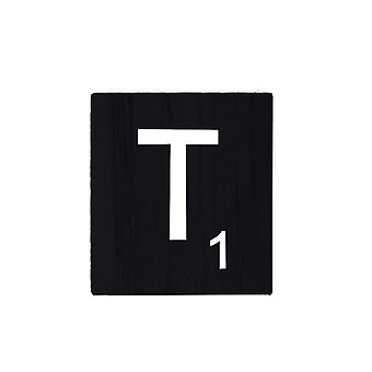 Black Wooden Scrabble Letters with Printed Numbers and Alphabets -T