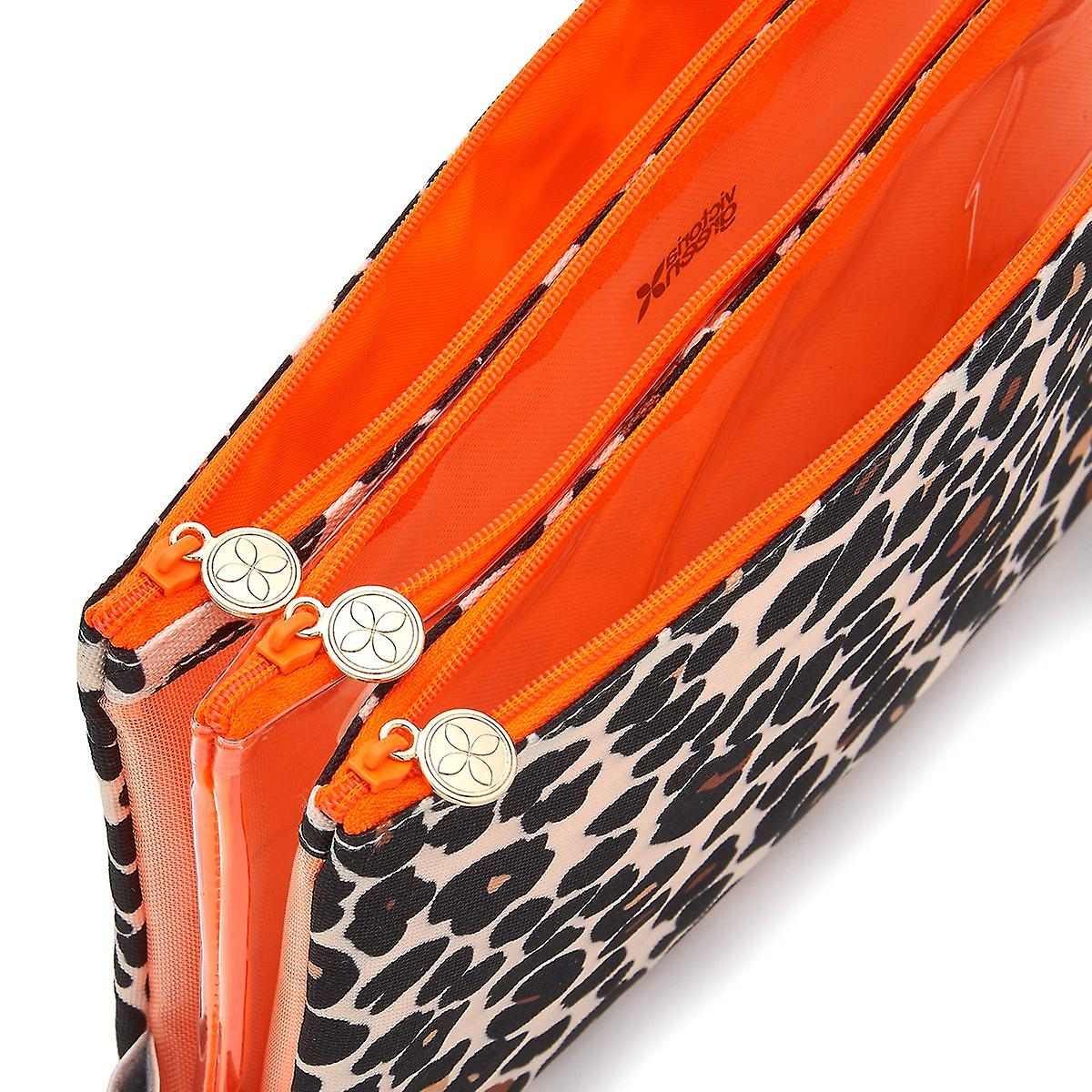'victoria green' amy 3 in 1 makeup wallet in leopard tan