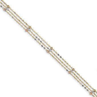 14Κ Tri χρώμα 3 σκέλος λάμψη κομμένα Beaded αστράγαλος 10 ιντσών κοσμήματα δώρα για τις γυναίκες-1,7 γραμμάρια